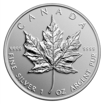 1OZ. RANDOM YEAR CANADIAN MAPLE LEAF SILVER COIN (.9999 PURE BULLION)