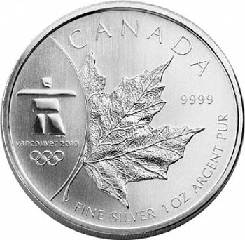 2008 $5 FINE SILVER COIN  - INUKSHUK OLYMPIC SILVER MAPLE LEAF