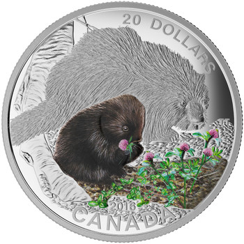 2015 $20 FINE SILVER COIN BABY ANIMALS: PORCUPINE