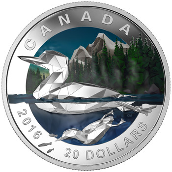 2016 $20 FINE SILVER COIN GEOMETRY IN ART: THE LOON