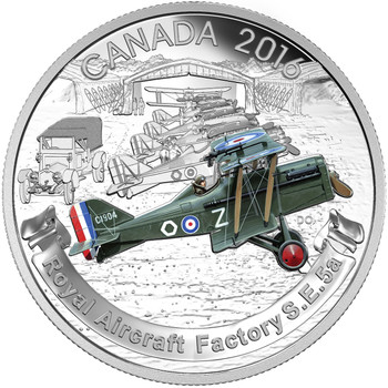 2016 $20 FINE SILVER COIN – AIRCRAFT OF THE FIRST WORLD WAR SERIES: THE ROYAL AIRCRAFT FACTORY S.E.5A