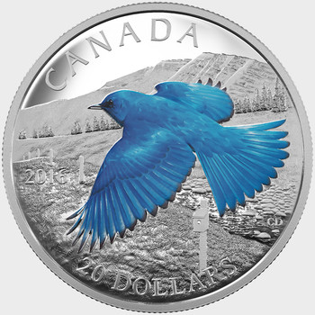 2016 $20 FINE SILVER COIN THE MIGRATORY BIRDS CONVENTION: 100 YEARS OF PROTECTION THE MOUNTAIN BLUEBIRD
