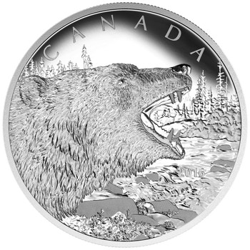2016 $125 FINE SILVER COIN ROARING GRIZZLY BEAR