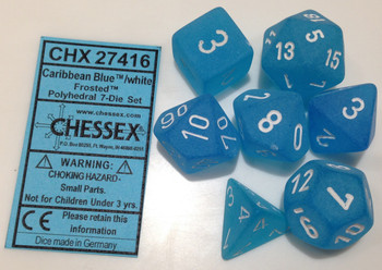 CARIBBEAN BLUE - FROSTED - POLYHEDRAL 7-DIE SET