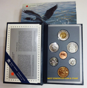 1997 7-COIN SPECIMEN SET - SPECIAL 10TH ANNIVERSARY LOONIE - FLYING LOON