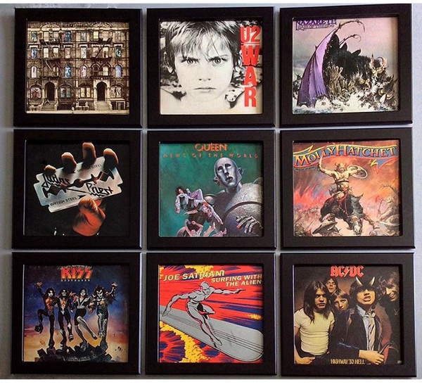 Classic Marbleized Black Slim Line LP Frame wall. Turn your favorite album cover art into a Pop Art installation display! Quickly and easily change albums any time.
