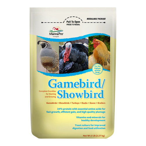 Buy Local Buy Online  Complete Crumbles for Show Quality Birds  Manna Pro Gamebird/Showbird Feed is designed for Starting and Growing Gamebirds, Turkeys, Ducks, Geese and Broilers.  The formula includes:      24% protein with essential amino acids for fast growth, efficient gain, and high-quality plumage     Vitamins and minerals for sound development and health     Yeast culture for improved digestion and feed utilization     Manna Pro Gamebird/Showbird is non-medicated