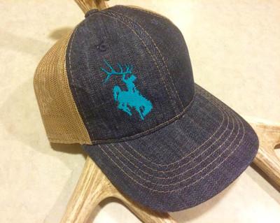Women's Teal Bucking Horse Denim Hat