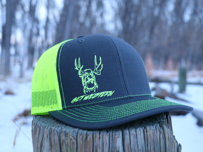 Get Western Neon Yellow & Grey Tagged Out Muley Hat