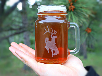 Bucking Horse Glass Mason Jar with Handle