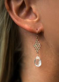 Rose Gold White Topaz Earrings