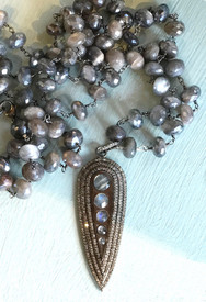 Five sparkling labradorite stones surrounded by diamonds