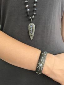 Labradorite and Diamond Dagger Necklace