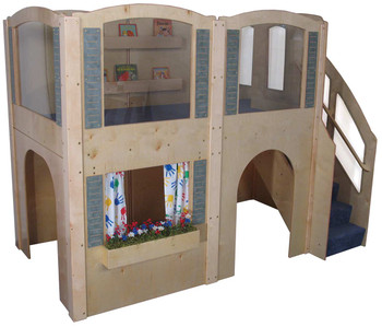 Mainstream Preschool Expedition 15 Wave Play Loft with Blue Carpet & Steps on Right 1