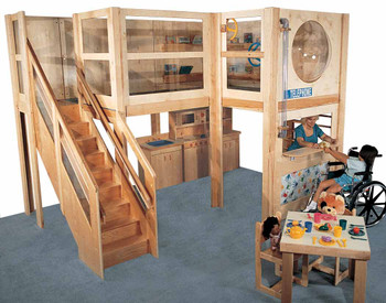 Mainstream School Age Explorer 20 Play Loft, 152''w x 120''d x 106''h, 60''h deck, 57''h clearance 1