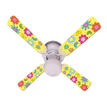 "Flower Power Butterflies Yellow Ceiling Fan 42"" 1"