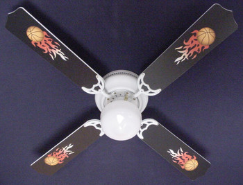 "Flaming Basketball Balls Ceiling Fan 42"" 1"