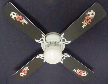 "Flaming Soccer Balls Ceiling Fan 42"" 1"