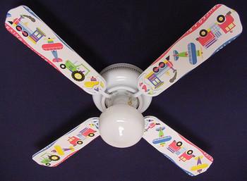 """Planes Trains Trucks Ceiling Fan 42"""" 1"""
