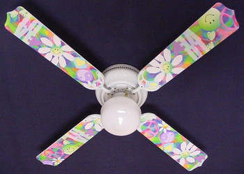 "Peace Love Happy Face 60'S Flowers Ceiling Fan 42"" 1"