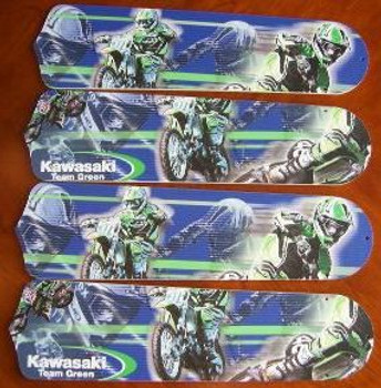 "Motocross Kawasaki Ceiling Fan 42"" Blades Only 1"