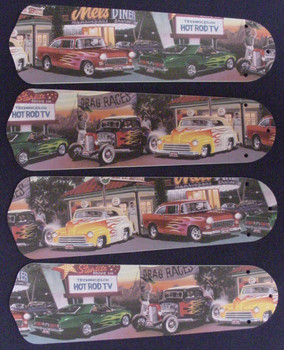 "Hot Rod Cars Burger Diner Ceiling Fan 42"" Blades Only 1"