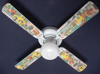 "Construction Dump Trucks Ceiling Fan 42"" Blades Only 1"