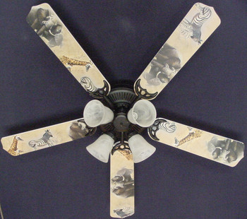 "African Safari Elephant Zebra Ceiling Fan 52"" 1"