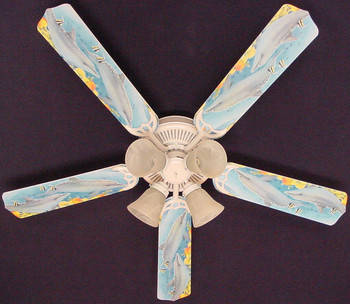 "Playful Dolphins Dolphin Ceiling Fan 52"" 1"