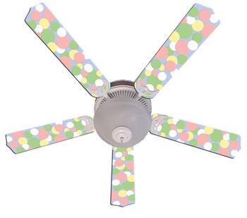 "Kids Soft Pastel Bubble Dots Ceiling Fan 52"" 1"