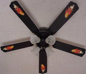 "Flaming Footballs Ceiling Fan 52"" 1"