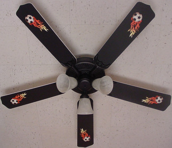 "Flaming Soccer Balls Ceiling Fan 52"" 1"