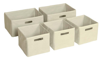 Guidecraft Tan Storage Bins - Set of 5 1