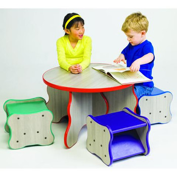 Wavy Table and 4 Stool Set