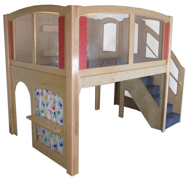 Mainstream Explorer 25 Preschool Wave Play Loft w/Steps on the Right, Blue Carpet 1