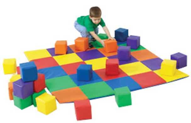 Children's Factory Joeys Matching Mat and Blocks Set - Pastel or Primary 1
