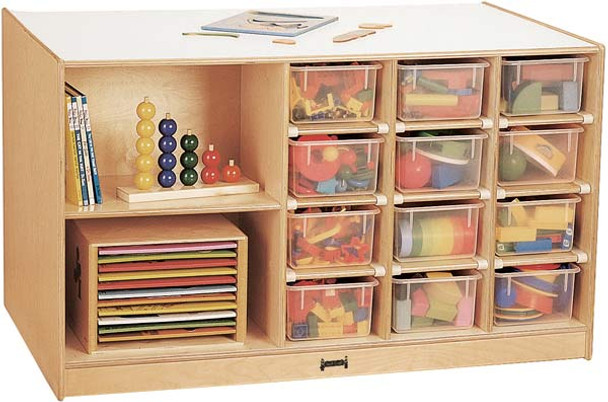Jonti-Craft Mobile Storage Island with Trays 1