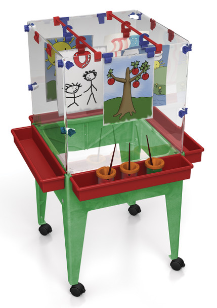 "Childbrite Youth 4 Station Space Saver Easel w/9"" deep clear tub 1"