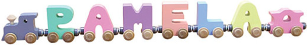 Maple Landmark Wooden Name Train - Pastel Colors 1