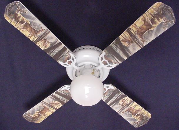 """Deer Buck Doe Hunting Ceiling Fan 42"""" 1"""