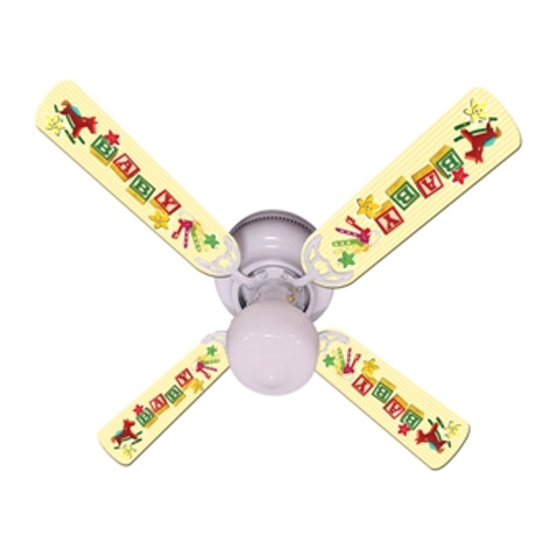 "Baby Nursery Toys Blocks Yellow Ceiling Fan 42"" 1"