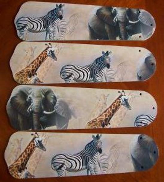 "African Safari Elephant Ceiling Fan 42"" Blades Only 1"