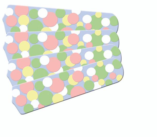 "Kids Soft Pastel Bubble Dots Ceiling Fan 42"" Blades Only 1"