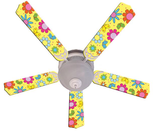 """Flower Power Butterflies Yellow Ceiling Fan 52"""" 1"""