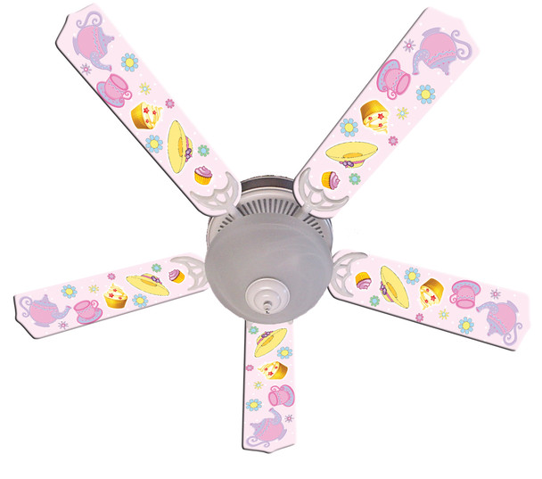 "Girls Pink Tea Time Party Ceiling Fan 52"" 1"