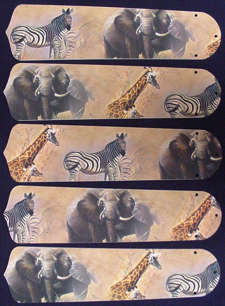 "African Safari Elephant 52"" Ceiling Fan Blades Only 1"