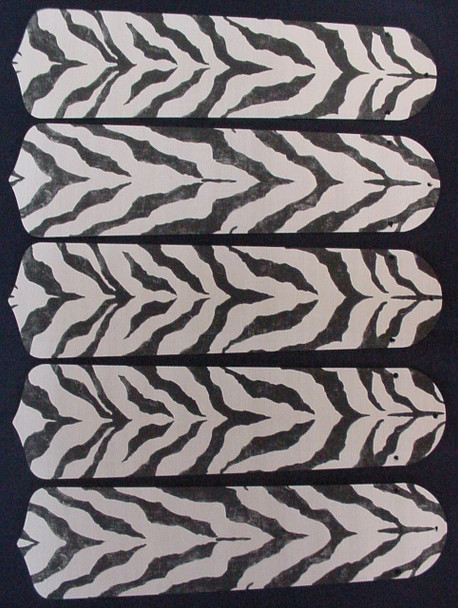 "African Safari Zebra Skin 52"" Ceiling Fan Blades Only 1"