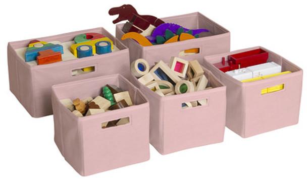 Guidecraft Pink Storage Bins - Set of 5 1