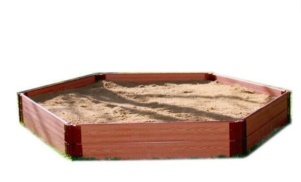 "7' x 8' x 11"" Hexagon Wooden Sandbox Kit 2"