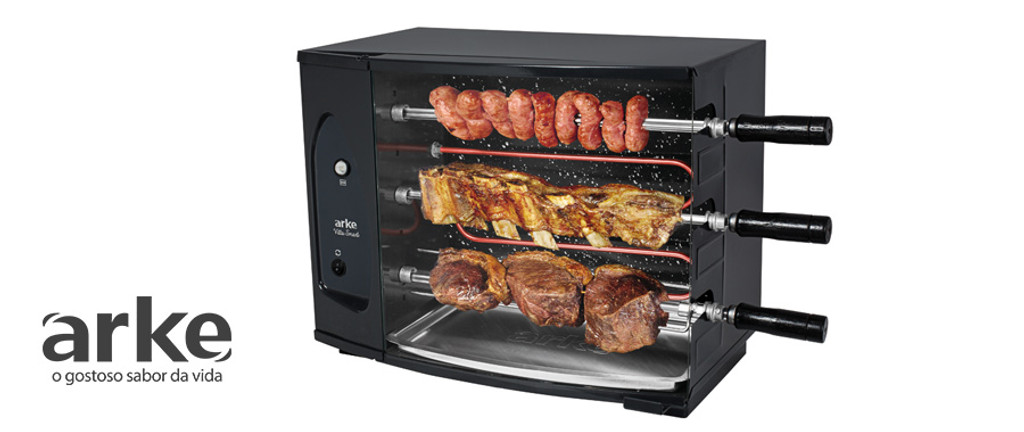 GRILL-BY-ARKE-BRASIL-BARBECUE 3-SKEWER-ROTISSERIE